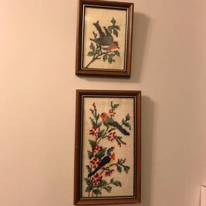 Vintage crewel framed bird pictures